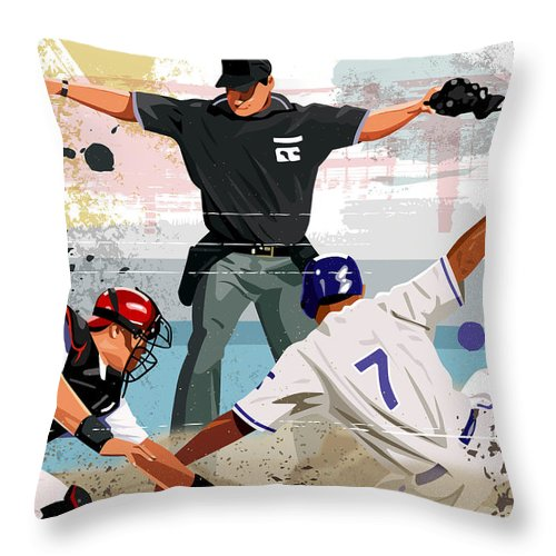 Helmet Throw Pillow featuring the digital art Baseball Player Safe At Home Plate by Greg Paprocki