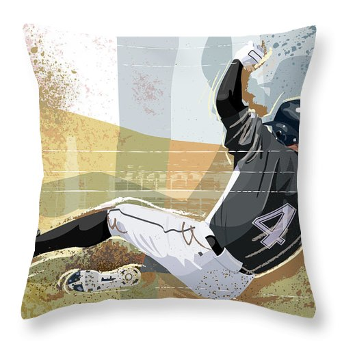 Sports Helmet Throw Pillow featuring the digital art Baseball Player Sliding Into Base by Greg Paprocki