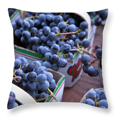 Toronto Throw Pillow featuring the photograph Baskets Of Grapes by Mary Smyth