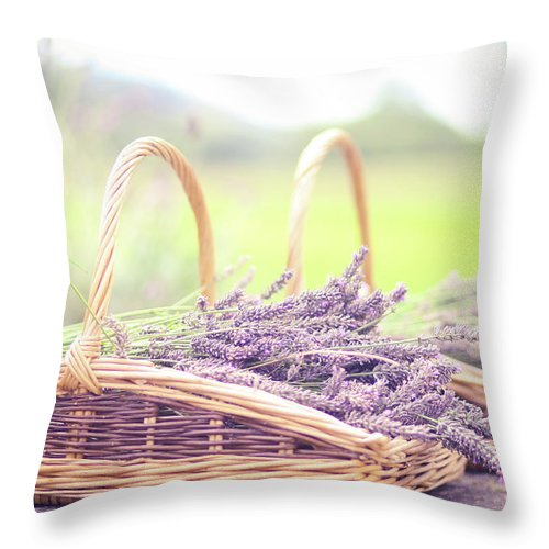 Dorset Throw Pillow featuring the photograph Baskets Of Lavender by Sasha Bell