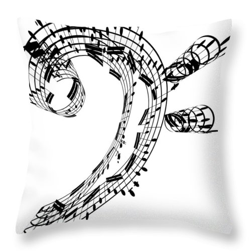 Sheet Music Throw Pillow featuring the digital art Bass Clef Made Of Music Notes by Ian Mckinnell