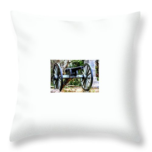 Lieutenant Charles E. Hazlett Of Battery D Throw Pillow featuring the photograph Battery D, Fifth United States Artillery by William Rogers