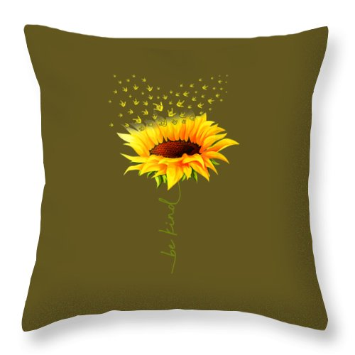 girls' Novelty T-shirts Throw Pillow featuring the digital art Be Kind Hippie Sunflower I Love You Deaf Asl Sign Language Tshirt by Do David