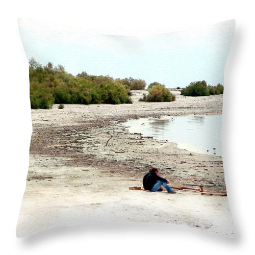 Watercolor Throw Pillow featuring the photograph Beach Goers-The Salton Sea in Digital Watercolor by Colleen Cornelius