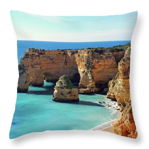 Algarve Throw Pillow featuring the photograph Beach by José Luís Pulido