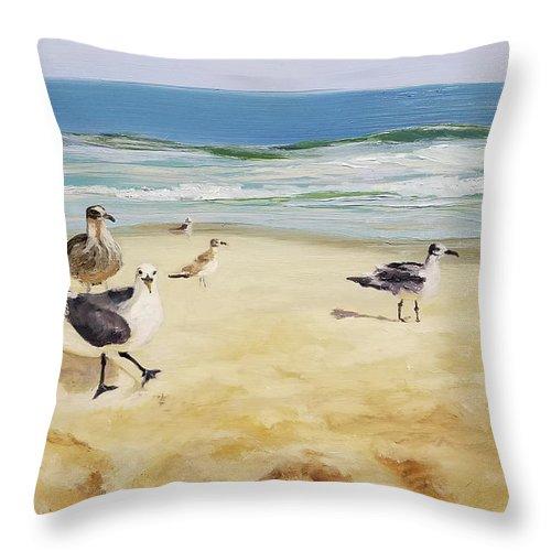 Gull Throw Pillow featuring the painting Beach Stroll by Susan E Hanna