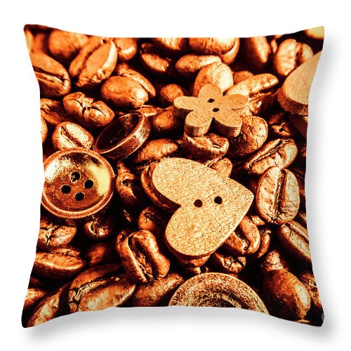 Drinks Throw Pillow featuring the photograph Beans And Buttons by Jorgo Photography - Wall Art Gallery