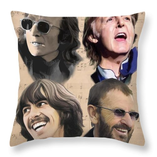 Beatles Throw Pillow featuring the painting Beatles Yesterday by Paul Tag