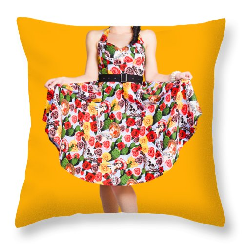 Spanish Throw Pillow featuring the photograph Beautiful Dancing Woman In Retro Red Dress by Jorgo Photography - Wall Art Gallery