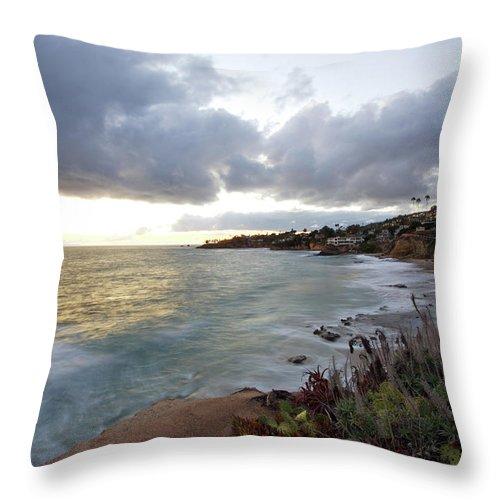 Laguna Beach Throw Pillow featuring the photograph Beautiful Laguna Coast After Sunset by Ekash
