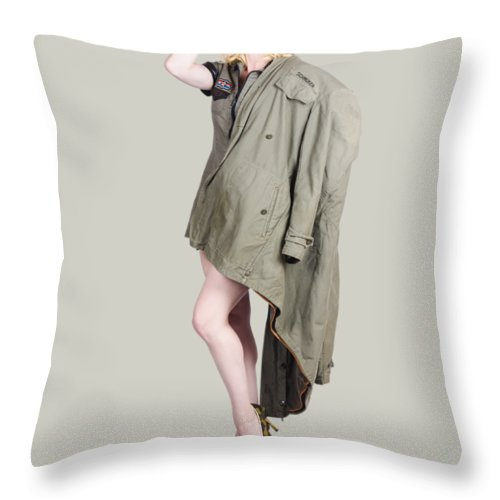 Woman Throw Pillow featuring the photograph Beautiful Military Pinup Girl. Classic Beauty by Jorgo Photography - Wall Art Gallery