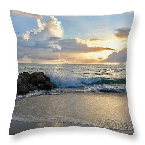 Ocean Sunrise Throw Pillow featuring the photograph Beautiful Morning by Laurie Hein