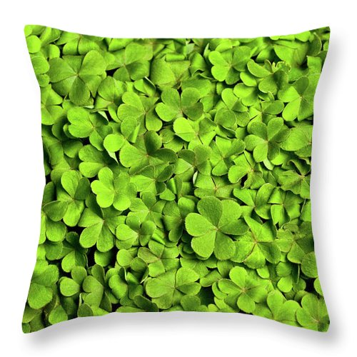 Leaf Throw Pillow featuring the photograph Bed Of Clover by Kledge