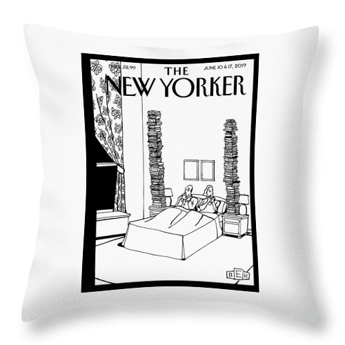 Bedtime Stories Throw Pillow featuring the drawing Bedtime Stories by Bruce Eric Kaplan