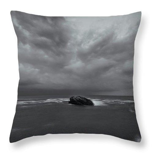 Dusk Throw Pillow featuring the digital art Before Storm Bw by Dariusz Stec