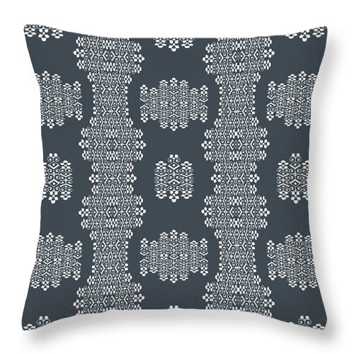 Grey And White Throw Pillow featuring the digital art Bella Cake Shea by Ceil Diskin