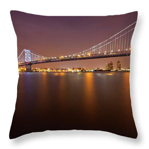 Built Structure Throw Pillow featuring the photograph Ben Franklin Bridge by Richard Williams Photography
