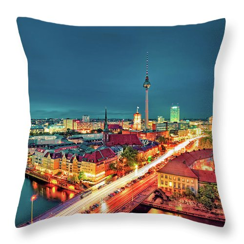 Alexanderplatz Throw Pillow featuring the photograph Berlin City At Night by Matthias Haker Photography