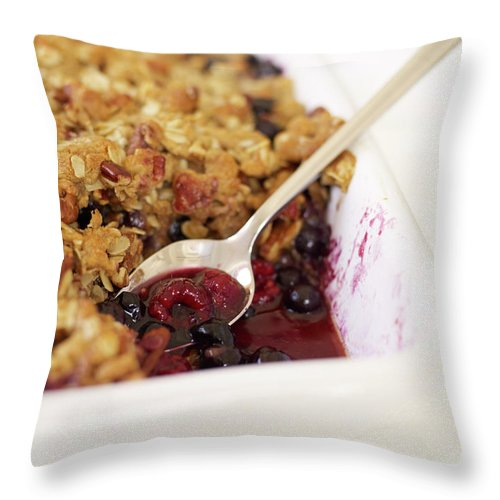Temptation Throw Pillow featuring the photograph Berry Crumble by James Baigrie