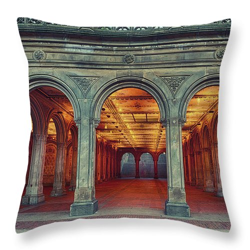 Arch Throw Pillow featuring the photograph Bethesda Terrace In Central Park - Hdr by Rontech2000