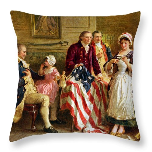 George Washington Throw Pillow featuring the painting Betsy Ross and General George Washington by War Is Hell Store