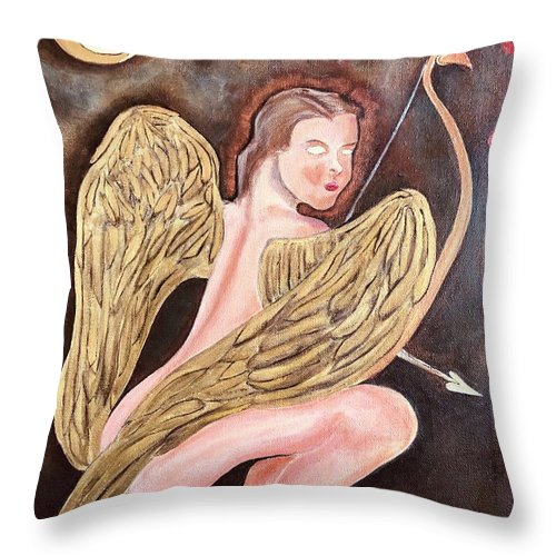 Cupid Throw Pillow featuring the painting Beware Of The Cupid by Ron Tango Jr