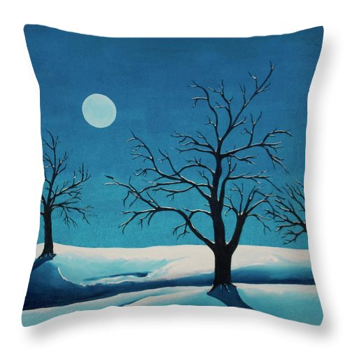 Blue Throw Pillow featuring the painting Beyond This Moment by Rollin Kocsis