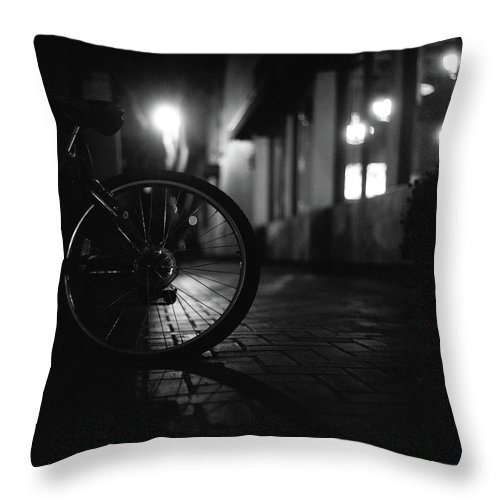 Shadow Throw Pillow featuring the photograph Bicycle In Dark Street by Satoshi Otani