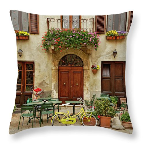 Pienza Throw Pillow featuring the photograph Bicycle In Front Of Small Cafe, Tuscany by Adam Jones