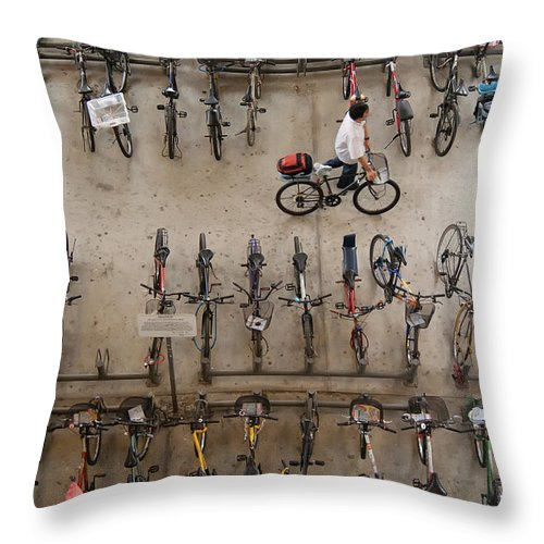 People Throw Pillow featuring the photograph Bicycle Park At Boon Lay Mrt Station by Kokkai Ng