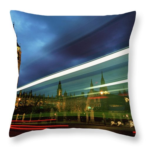 Gothic Style Throw Pillow featuring the photograph Big Ben And The Houses Of Parliament by Allan Baxter