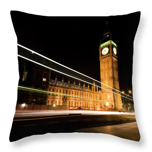 Clock Tower Throw Pillow featuring the photograph Big Ben At Night by Track5