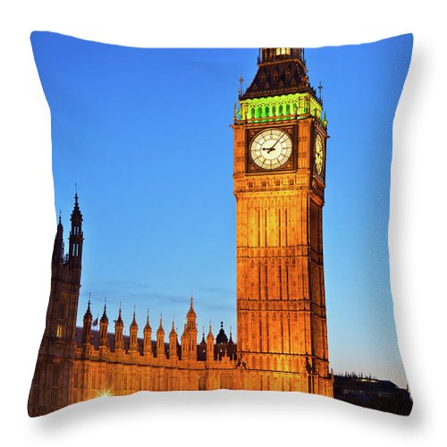 Gothic Style Throw Pillow featuring the photograph Big Ben In London by Nikada