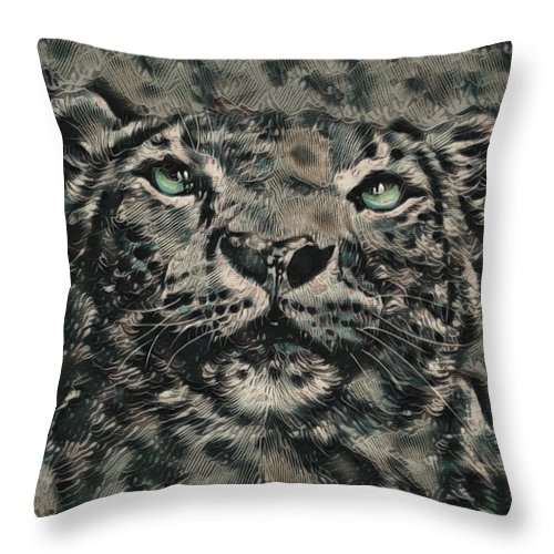 Expressionist Fantasy New Art Throw Pillow featuring the digital art Big Cat by Jessica Bell