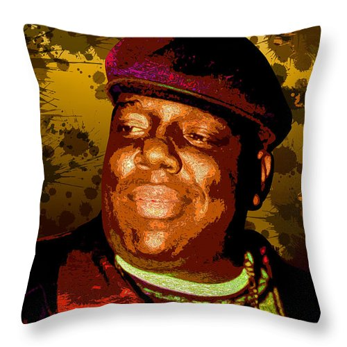 The Notorious Throw Pillow featuring the digital art Biggie by Hay Rouleaux