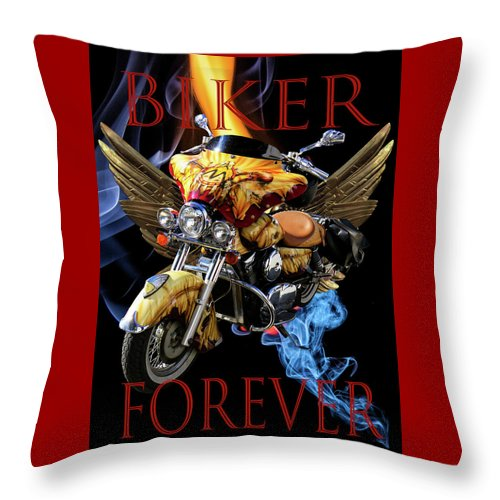 Indian Throw Pillow featuring the digital art Biker Forever by Debra and Dave Vanderlaan