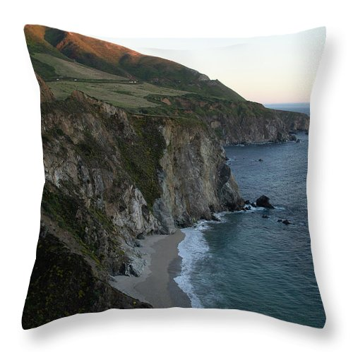 California Throw Pillow featuring the photograph Bixby Creek At Twilight by Marie Leslie