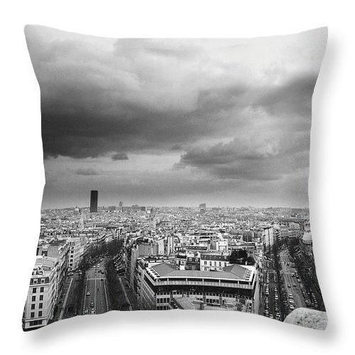 Black Color Throw Pillow featuring the photograph Black And White Aerial View Of An by Stockbyte