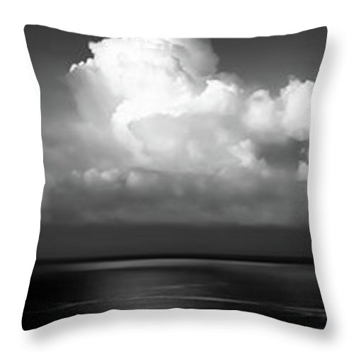 Clouds Throw Pillow featuring the photograph Black And White Clouds - Panorama by Christopher Johnson