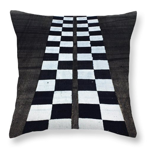Finish Line Throw Pillow featuring the photograph Black And White Finish Line by Win-initiative/neleman