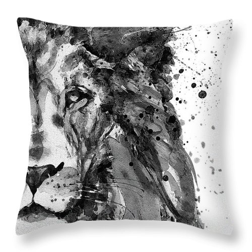 Lion Throw Pillow featuring the painting Black And White Half Faced Lion by Marian Voicu