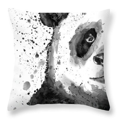 Panda Throw Pillow featuring the painting Black And White Half Faced Panda by Marian Voicu