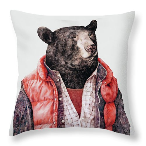 Bear Throw Pillow featuring the painting Black Bear by Animal Crew