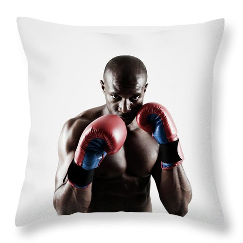 People Throw Pillow featuring the photograph Black Male Boxer In Boxing Stance by Mike Harrington