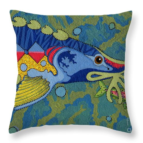 Native American Throw Pillow featuring the painting Blessed Sturgeon by Chholing Taha