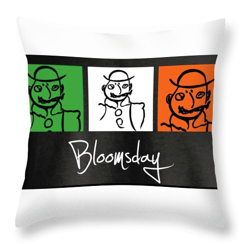 James Joyce Ulysses Bloomsday Throw Pillow featuring the drawing Bloomsday by Roger Cummiskey