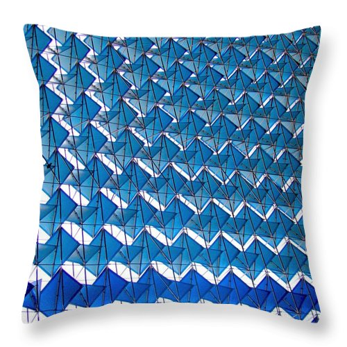 New Delhi Throw Pillow featuring the photograph Blue Abstract Structure Of Geometrical by Baxsyl