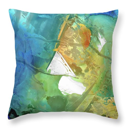 Blue Throw Pillow featuring the painting Blue And Orange Abstract Art - Good Vibrations - Sharon Cummings by Sharon Cummings