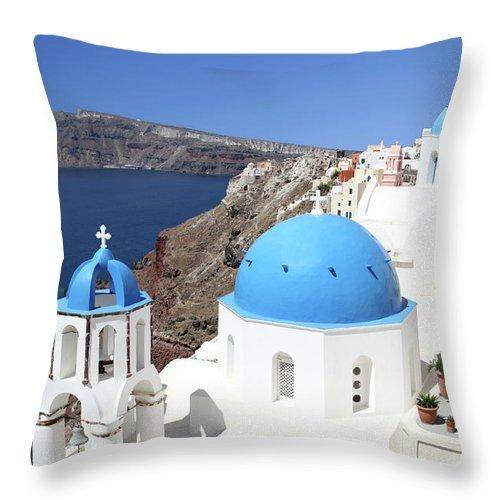 Greek Culture Throw Pillow featuring the photograph Blue Domes Of Santorini by Jurgar