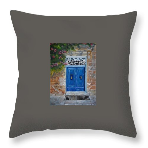 Malta Throw Pillow featuring the painting Blue Door Malta by Lisa Cini